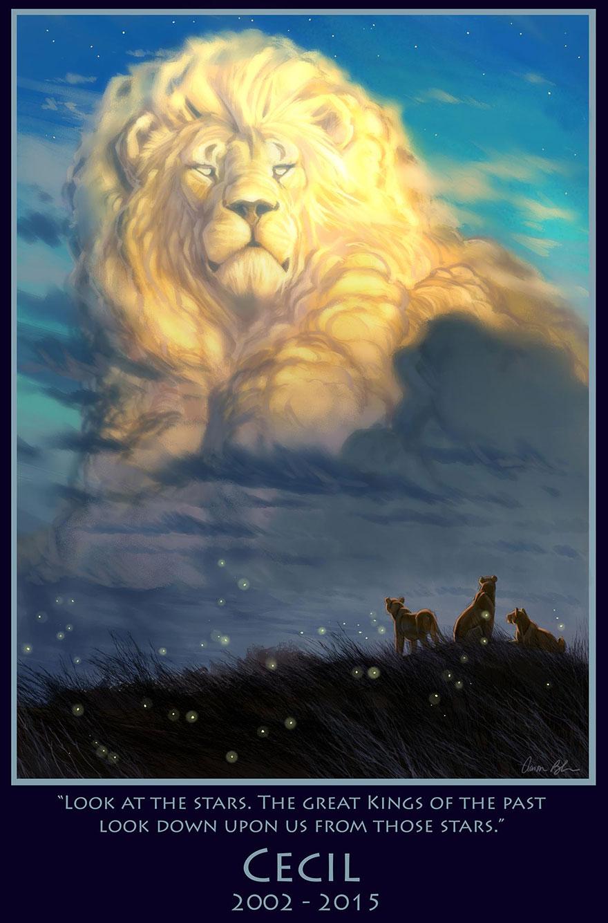Аніматор студії «Дісней» створив картину в пам'ять про вбитого зімбабвійського лева