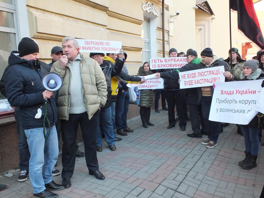 Волиняни у Києві протестують проти призначення Олександра Кватирка керівником лісової галузі області