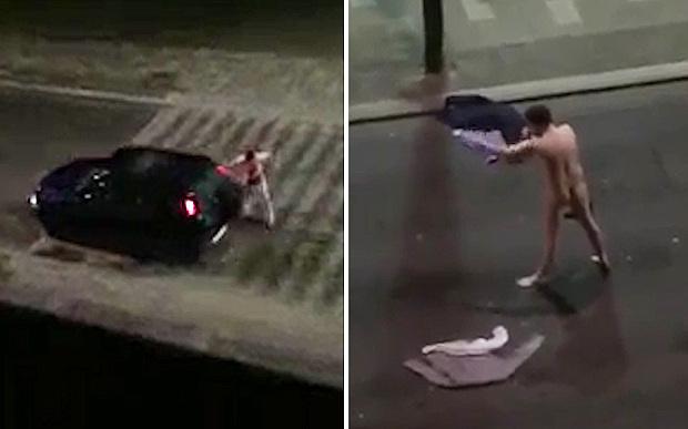П'яний і оголений британець влаштував боксерський поєдинок із машинами
