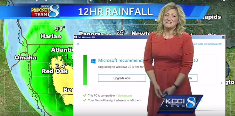 Оновлення для Windows перервало прогноз погоди на американському телеканалі (відео)