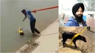 Індієць врятував потопаючу собаку за допомогою мотузки з власного тюрбана (відео)