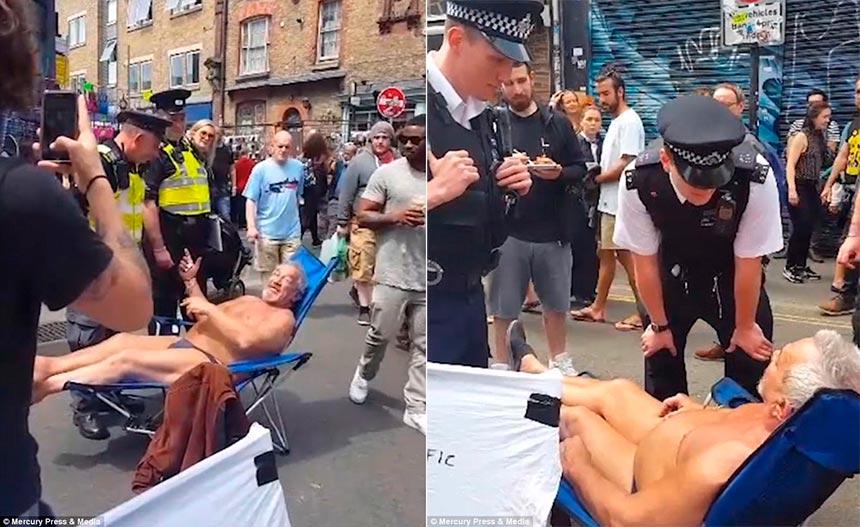 У Лондоні заарештували чоловіка, який загорав посеред вулиці в плавках